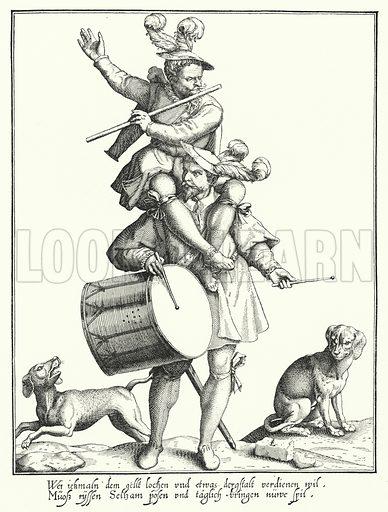 The Drummer and the Fifer. Illustration for Kulturgeschichtliches Bilderbuch aus drei Jahrhunderten by Georg Hirth (Leipzig and Munchen, 1881–90).