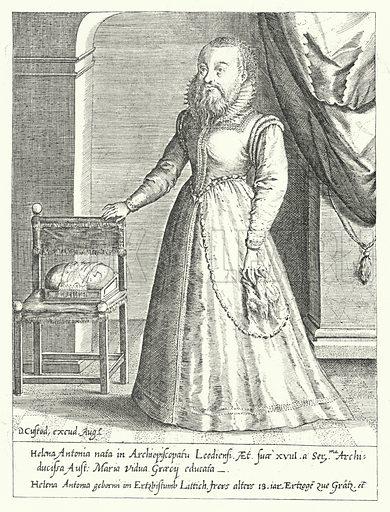 Helena Antonia of Liege, the bearded female court dwarf of Maria of Austria, Holy Roman Empress