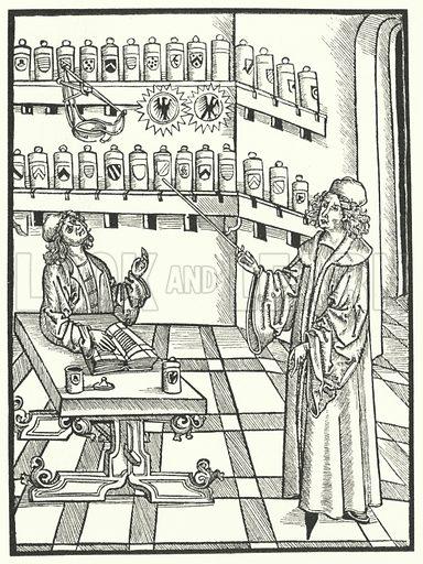 Pharmacy, 15th Century. Illustration for Kulturgeschichte Des Deutschen Volkes by Otto Henne Am Rhyn (G Grote'sche Verlagsbuchhandlung, 1886).