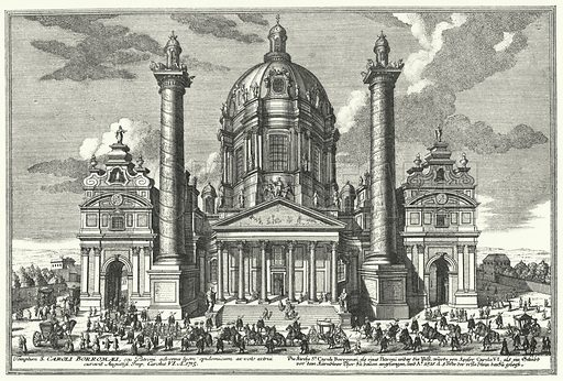 Karlskirche (St Charles Church), Vienna. Illustration from unidentified late 19th century history book.