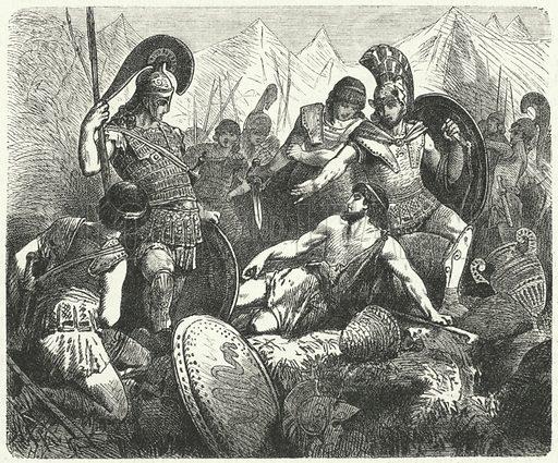 Sacrificial death of Codrus, King of Athens. Illustration for Weltgeschichte Fur Das Volk by Otto von Corvin and Wilhelm Held (Verlag und Druck von Otto Spamer, 1880).