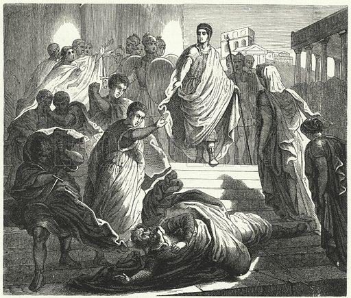 Tarquinius Superbus assassinating his father-in-law, Servius Tullus, to claim the Roman throne. Illustration for Weltgeschichte Fur Das Volk by Otto von Corvin and Wilhelm Held (Verlag und Druck von Otto Spamer, 1880).
