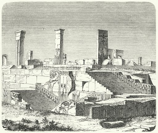 Ruins of the Palace of Xerxes at Persepolis. Illustration for Weltgeschichte Fur Das Volk by Otto von Corvin and Wilhelm Held (Verlag und Druck von Otto Spamer, 1880).