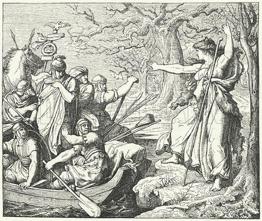 The Roman general Nero Claudius Drusus on the River Elbe, 9 BC Illustration for Weltgeschichte Fur Das Volk by Otto von Corvin and Wilhelm Held (Verlag und Druck von Otto Spamer, 1880).