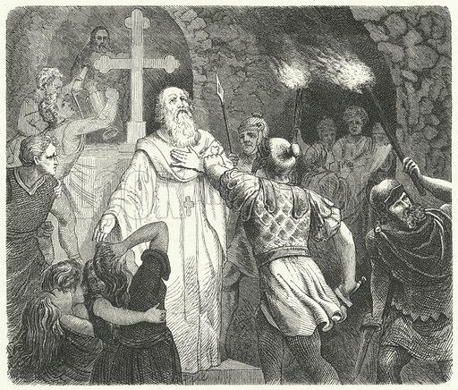 Interruption of a Christian service in the Roman catacombs. Illustration for Weltgeschichte Fur Das Volk by Otto von Corvin and Wilhelm Held (Verlag und Druck von Otto Spamer, 1880).