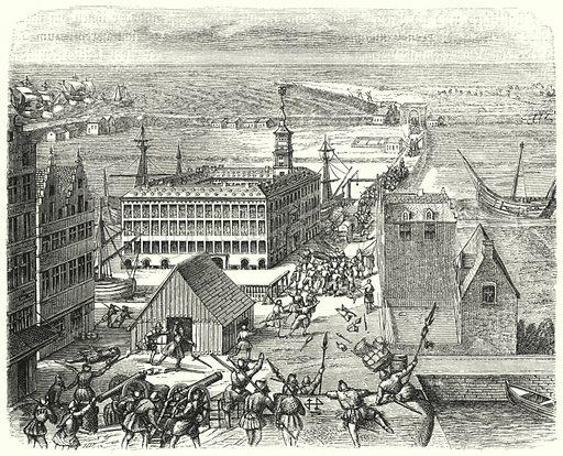 Trading post of the Hanseatic League in Antwerp, 16th Century. Illustration for Weltgeschichte Fur Das Volk by Otto von Corvin and Wilhelm Held (Verlag und Druck von Otto Spamer, 1880).