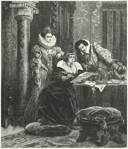 Maria de' Medici in consultation with Concino Concini and Leonora Dori. Illustration for Weltgeschichte Fur Das Volk by Otto von Corvin and Wilhelm Held (Verlag und Druck von Otto Spamer, 1880).