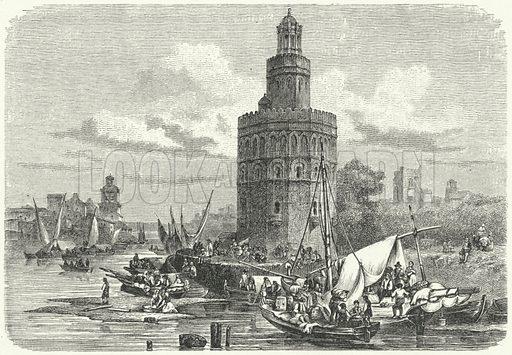 Torre del Oro, Seville, Spain. Illustration for Weltgeschichte Fur Das Volk by Otto von Corvin and Wilhelm Held (Verlag und Druck von Otto Spamer, 1880).