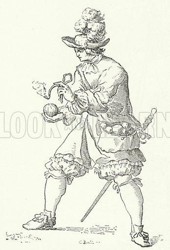 Grenadier with a hand grenade, 17th Century. Illustration for Weltgeschichte Fur Das Volk by Otto von Corvin and Wilhelm Held (Verlag und Druck von Otto Spamer, 1880).
