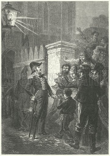 General Daumesnil confronts the Parisian mob outside the Chateau de Vincennes during the French Revolution of 1830. Illustration for Weltgeschichte Fur Das Volk by Otto von Corvin and Wilhelm Held (Verlag und Druck von Otto Spamer, 1880).