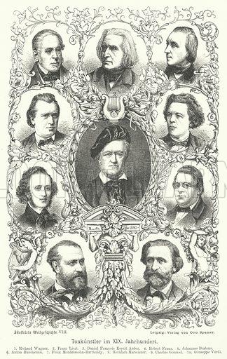 Composers of the 19th Century. Illustration for Weltgeschichte Fur Das Volk by Otto von Corvin and Wilhelm Held (Verlag und Druck von Otto Spamer, 1880).
