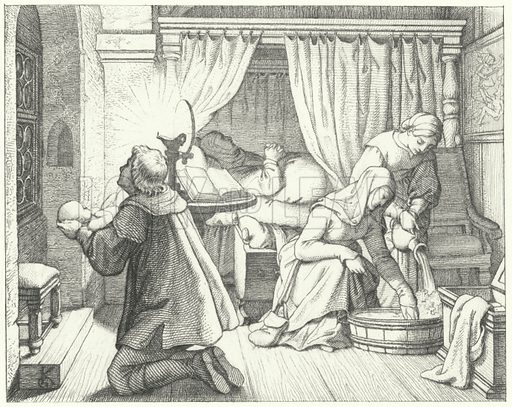 The birth of Martin Luther, 1483. Illustration for Dr Martin Luther by Gustav Konig (Besser, 1857).