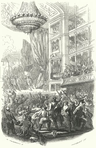 The beginning of the Belgian Revolution: performance of Daniel Auber's opera La Muette de Porcini at the Theatre de la Monnaie in Brussels, 25 August 1830. Illustration for Histoire De Belgique by Theodore Juste (Alexandre Jamar, Brussels, c 1870).