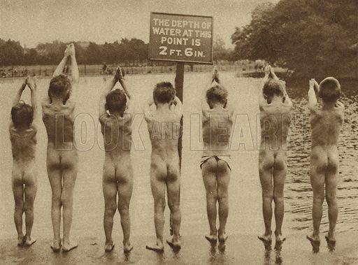 Boys going swimming on Clapham Common