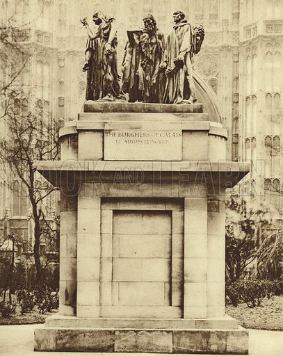 Bronze replica of Auguste Rodin's sculpture The Burghers of Calais, in Victoria Tower Gardens, Westminster. Illustration for Wonderful London by St John Adcock (Fleetway, c 1930). Gravure-printed.
