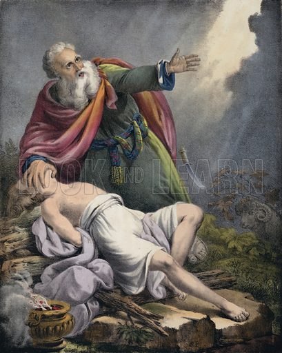 Abraham offering up his son Isaac.  One of the Preceptive Illustrations of the Bible published by Thomas Varty (c 1880).
