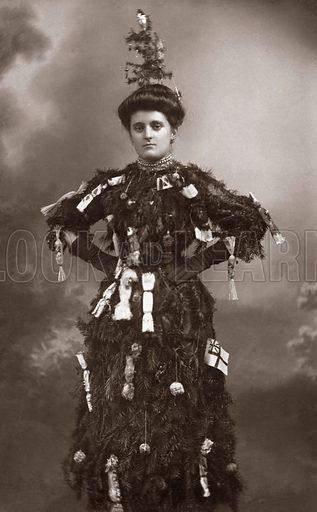 Woman dressed as Christmas Tree