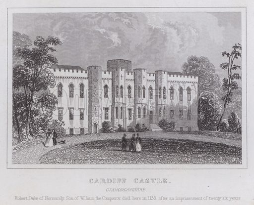 Cardiff Castle, Glamorganshire. Robert, Duke of Normandy, son of William the Conqueror died here in 1133, after an imprisonment of twenty six years. Illustration for Curiosities of Great Britain by Thomas Dugdale (L Tallis, c 1850).
