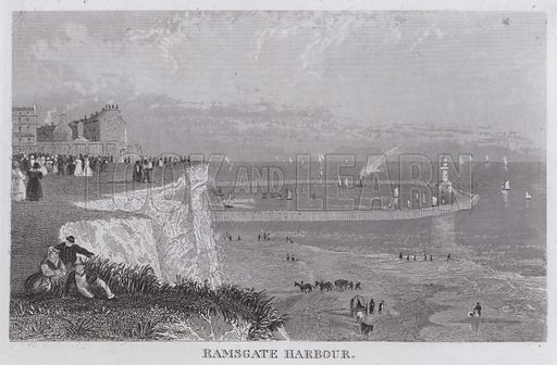 Ramsgate Harbour. Illustration for Curiosities of Great Britain by Thomas Dugdale (L Tallis, c 1850).