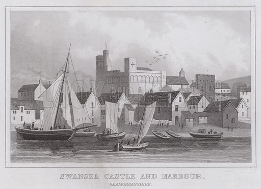 Swansea Castle and Harbour, Glamorganshire. Illustration for Curiosities of Great Britain by Thomas Dugdale (L Tallis, c 1850).