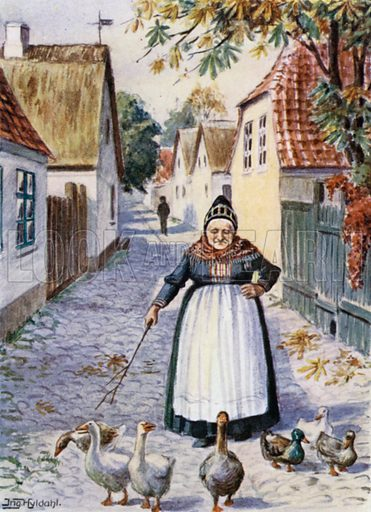 Dragor Peasant. Illustration for Peeps at Many Lands, Denmark by M Pearson Thomson with illustrations by Froken Ingeborg Hyldahl (A&C Black, 1910).