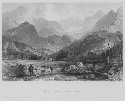 Val d'Azun, High Pyrenees. Val d'Azun, Hautes-Pyrenees. Illustration for France Illustrated (Fisher, c 1845).