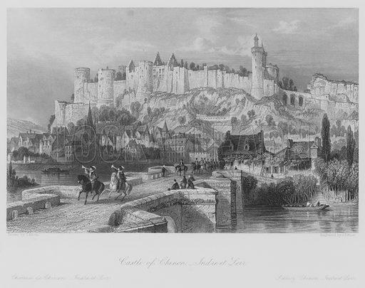 Castle of Chinon, Indre-et-Loir. Chateau de Chinon, Indre-et-Loir. Illustration for France Illustrated (Fisher, c 1845).