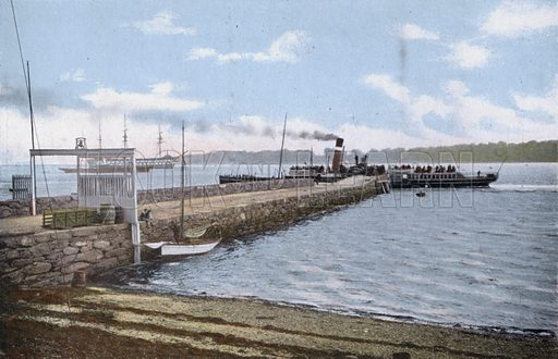 Row Pier. Illustration for Forty-Eight Coloured Views of Glasgow and the West Coast (William Thyne, c 1905).