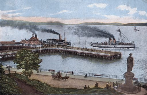 Dunoon, Pier and Highland Mary's Monument. Illustration for Forty-Eight Coloured Views of Glasgow and the West Coast (William Thyne, c 1905).