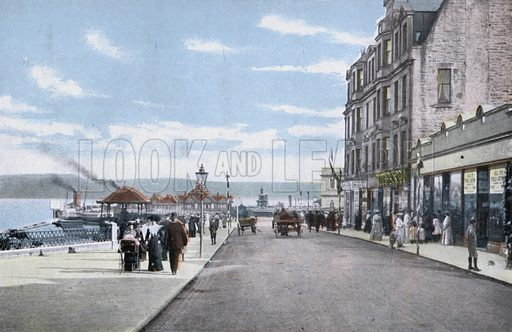 Dunoon, The Pier. Illustration for Forty-Eight Coloured Views of Glasgow and the West Coast (William Thyne, c 1905).