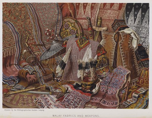 Malay Fabrics and Weapons. Illustration for The History of Mankind by Friedrich Ratzel (Macmillan, 1896).