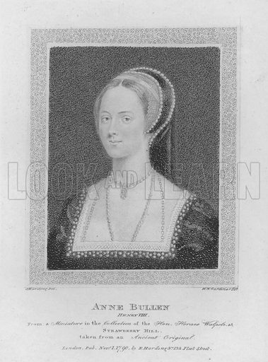 Anne Bullen. Henry VIII. From a miniature in the collection of the Honourable Horace Walpole at Strawberry Hill. Illustration for Shakespeare Illustrated (S & E Harding, 1793).