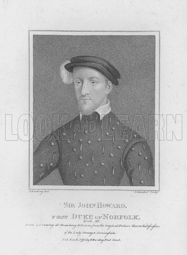 Sir John Howard, First Duke of Norfolk. Richard III. From a drawing at Strawberry Hill, done from the original picture then in the possession of the Lady Dowager Jerningham. Illustration for Shakespeare Illustrated (S & E Harding, 1793).