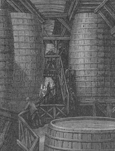 Interieur D'Une Brasserie. Illustration for Londres by Louis Enault illustrated by Gustave Dore (Hachette, 1876).
