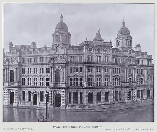 Bank Buildings, Princes Street. Illustration for The Modern Building Record Volume One Public Buildings (Charles Jones, 1910).