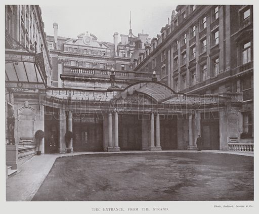 New Winter Garden, Hotel Cecil, London, The Entrance, from the Strand. Illustration for The Modern Building Record Volume Four (Charles Jones, 1913).