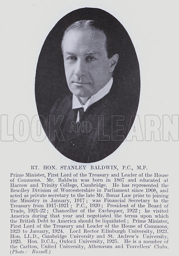 Rt Hon Stanley Baldwin, PC, MP Prime Minister, First Lord of the Treasury and Leader of the House of Commons. Illustration for Notable Personalities, An Illustrated Who's Who of Professional and Business Men and Women (Whitehall Publishing, 1927).