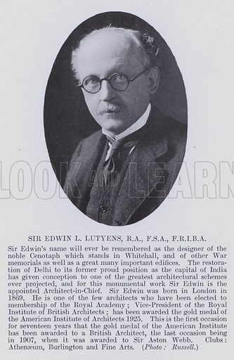 Sir Edwin L Lutyens, RA, FSA, FRIBA. Sir Edwin's name will ever be remembered as the designer of the noble Cenotaph which stands in Whitehall, and of other War memorials as well as a great many important edifices. Illustration for Notable Personalities, An Illustrated Who's Who of Professional and Business Men and Women (Whitehall Publishing, 1927).