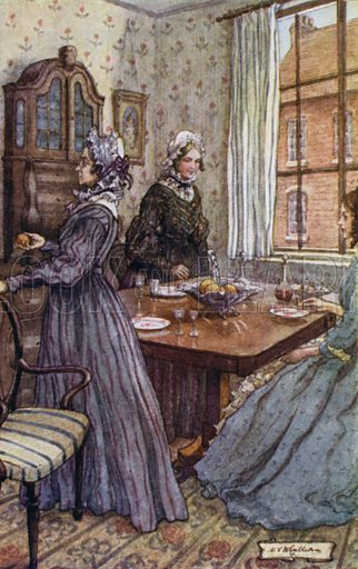Miss Jenkyns and Miss Matty used to rise up, possess themselves each of an orange in silence, and withdraw to the privacy of their own rooms to indulge in sucking oranges. Illustration for Cranford by Mrs Gaskell illustrated by M V Wheehouse (G Bell, 1926).
