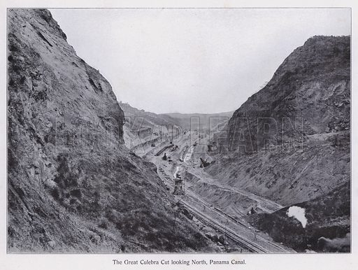 The Great Culebra Cut looking North, Panama Canal. Illustration for Souvenir of the Panama Canal (Maduro, pre 1920).