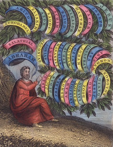 The Saviour's line and acts these leaves contain From Abraham's stem, and David's fated reign. Old Abraham, Isaac, Jacob, first take place; From whence the Patriarchs, and their sacred race. Genealogy of Christ, Matthew I. Illustration for Scripture History for the Improvement of Youth (Kelly, c 1850). Contemporary hand-colouring.