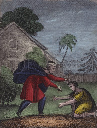 His father saw him coming back, He saw, and run, and smil'd; And threw his arms around the neck Of his rebellious child. Luke XV. Illustration for Scripture History for the Improvement of Youth (Kelly, c 1850).  Contemporary hand-colouring.