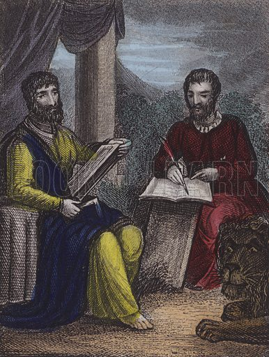St Matthew, St Mark. Illustration for Scripture History for the Improvement of Youth (Kelly, c 1850). Contemporary hand-colouring.