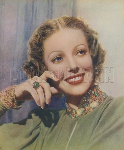 Loretta Young. Illustration for Stars and Films of 1938 edited by Stephen Watts (Daily Express Publications, 1938).  Gravure printed.
