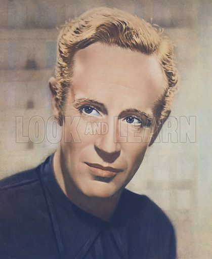 Leslie Howard. Illustration for Stars and Films of 1937 edited by Stephen Watts (Daily Express Publications, 1938). Gravure printed.