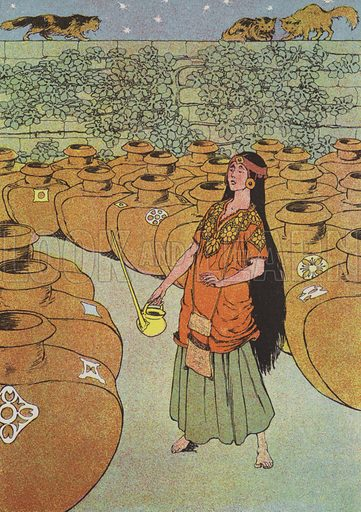 """She took the kettle into the yard."" Illustration for The Arabian Nights retold by Gladys Davidson (Blackie, c 1910)."