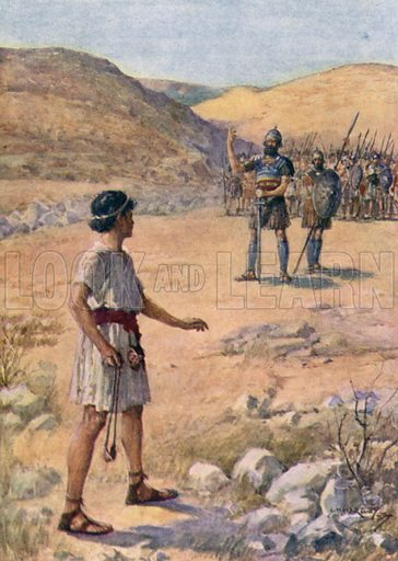 David and Goliath, I Samuel XVII 41. Illustration for The Bible Story by James Baikie (A&C Black, 1923).