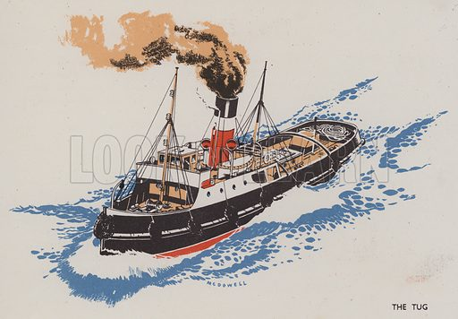 The Tug. Illustration for The Boy's Own Book of Ships drawn and written by DF McDowell (Sampson Low, c 1945).