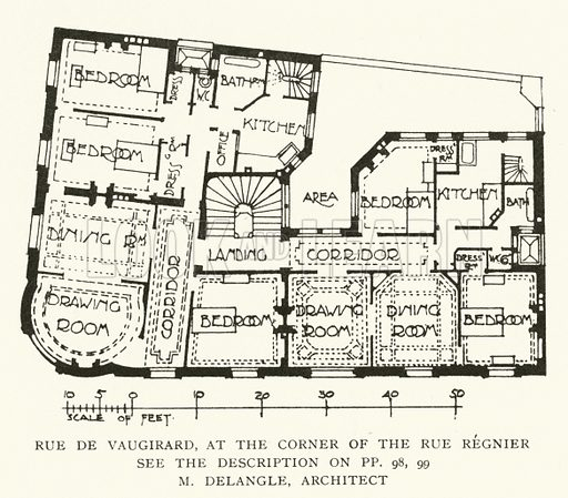 M Delangle, Architect. Illustration for Flats, Urban Houses and Cottage Homes (Hodder and Stoughton, c 1906).