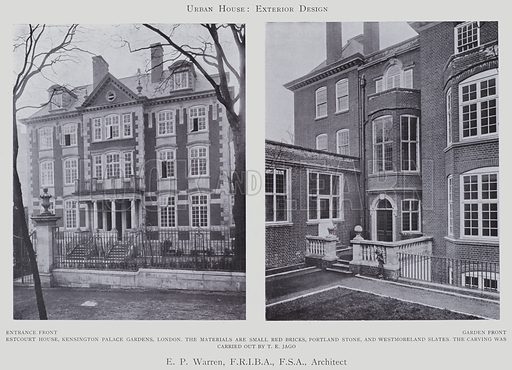 E P Warren, Architect. Illustration for Flats, Urban Houses and Cottage Homes (Hodder and Stoughton, c 1906).